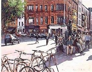 Norman Teeling (b.1944) MOLLY MALONE SCULPTURE, GRAFTON STREET signed lower right oil on board 64 by 76cm., 25 by 30in.  E1,500-2,000 (E950-1,300