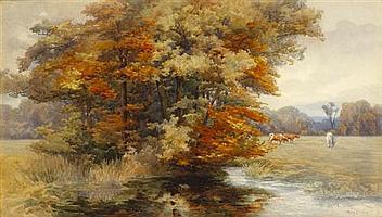 Mary Georgina Barton SWA (1861-1949) AUTUMN IN AN IRISH PARK