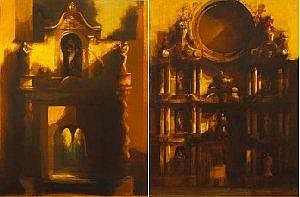 Martin Mooney (b.1960) FA€ADE GIRON CATHEDRAL and FA€ADE I (A PAIR) Both signed with initials and dated [1988] lower right; the former inscribed on