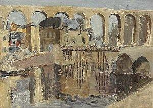 Violet McAdoo (1896-1961) RIVER AND AQUADUCT AT DINAN, FRANCE inscribed and dated [August 1947] on reverse oil on canvas laid on board 28 by 39cm.,