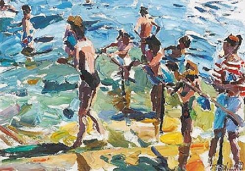 BATHERS AT THE FORTY FOOT, SANDYCOVE, 1989 Stephen Cullen (b.1959) Signature: signed and dated lower right Medium: oil on canvas Measure: 43 by