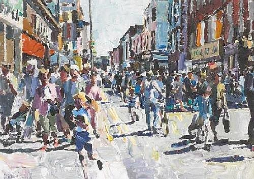 TALBOT STREET, DUBLIN, 1989 Stephen Cullen (b.1959) Signature: signed and dated lower left Medium: oil on canvas Measure: 51 by 71cm , 20 by 28in.
