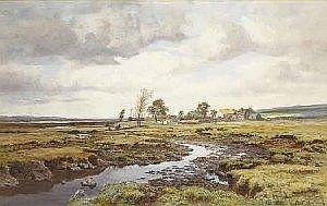 Henry Albert Hartland (1840-1893) AN IRISH HOMESTEAD signed lower right watercolour heightened with white 48 by 76cm., 19 by 30in. Provenance: