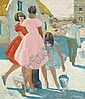 Patrick Leonard HRHA (b.1918) GIRLS AT VILLAGE PUMP signed lower right oil on board 61 by 51cm., 24 by 20in., Patrick Leonard, Click for value