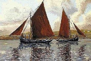 Ivan Sutton, (b.1944) BECALMED GALWAY HOOKERS OFF CARRAROE, COUNTY GALWAY signed lower right; inscribed and signed again on reverse oil on board 64
