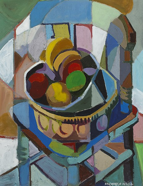 Michael O'Neill (b.1930) STILL LIFE WITH FRUIT ON A CHAIR