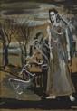 Gladys Maccabe HRUA ROI FRSA (b.1918) MAN WITHIN A DESOLATE LANDSCAPE