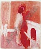 Neil Shawcross ARHA (b.1940) RED NUDE signed and dated [1983] lower right watercolour 107 by 89cm., 42 by 35in., Neil Shawcross, Click for value