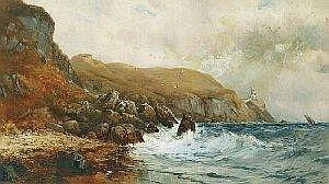 Alexander Williams RHA (1884-1930) THE BAILEY LIGHTHOUSE, HOWTH signed and dated [1889] lower left oil on canvas laid on board 60 by 105cm., 23.5 by