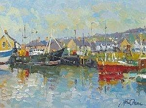 Liam Treacy (1934-2004) CORNER OF THE HARBOUR, ARKLOW signed lower right oil on canvas 30 by 41cm., 12 by 16in. Provenance: Riverview Art Gallery,