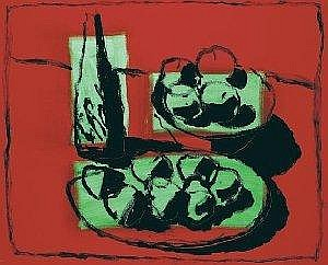 Neil Shawcross, ARHA (b.1940) RED AND GREEN STILL LIFE signed lower centre; dated [2003] lower right acrylic on canvas 91 by 112cm., 36 by 44in.