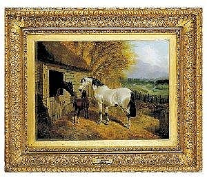 John Frederick Herring, Jnr., English, (1815-1907) STABLE-YARD WITH TWO HORSES AND A FOAL, AND A RIVERINE LANDSCAPE BEYOND signed