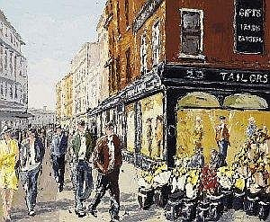Ivan Sutton (b.1944) OLD BROWN THOMAS STORE, GRAFTON STREET signed lower right; inscribed and signed again on reverse oil on board 64 by 76cm., 25