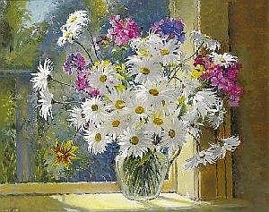 Geraldine M. O'Brien (b.1922) MICHAELMAS DAISIES AND PHLOX ON A WINDOWSILL signed lower left oil on canvas 61 by 76cm., 24 by 30in. Estimate -
