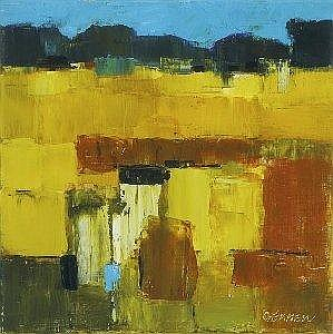 Michael Gemmell (b.1950) FIELDS IN SUMMER signed lower right oil on canvas 30 by 30cm., 12 by 12in. Provenance: Lambay House Gallery, Howth, Co.
