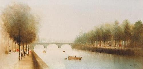 Anthony Robert Klitz (1917-2000) THE LIFFEY, DUBLIN signed lower right; inscribed and dated [1977] on reverse oil on canvas 51 by 102cm., 20 by