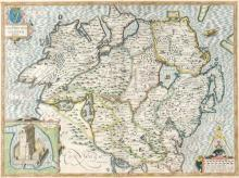 Early 17th century, map of Ulster by John Speed.