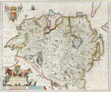1654 Map of Ulster, by Joan Blaeu.