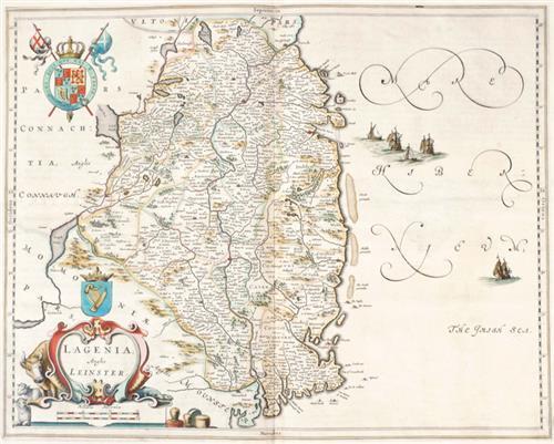 1654 Map of Leinster by Joan Blaeu.