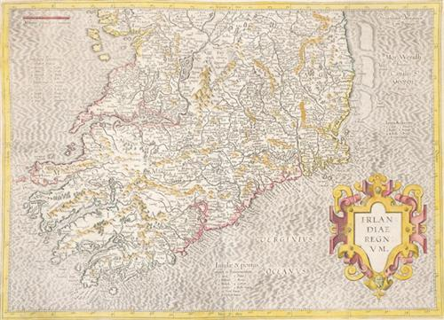 17th Century Map. Mercator, Gerhardt. Irlandiae Regnum.