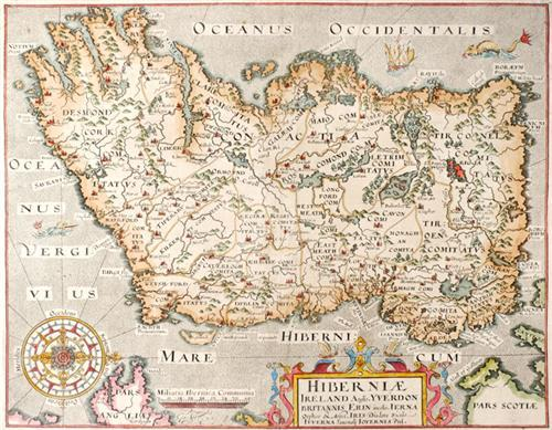 17th century, Hiberniae, Map of Ireland by William Camden and a town plan of Limerick. (2)
