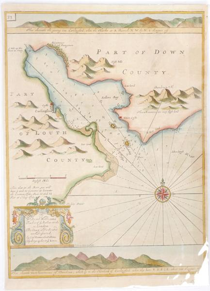 1693 Charts of St. George''s Channel and Carlingford Lough by Greenville Collins.