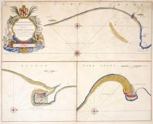 17th and 18th century, Yorkshire, Schenk and Valk map and Greenvile Collins sea chart.