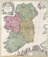 1720, Map of Ireland by Johann Baptiste Homann.