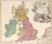 1740 Map of Britain and Ireland, by Johan Baptiste Homann.
