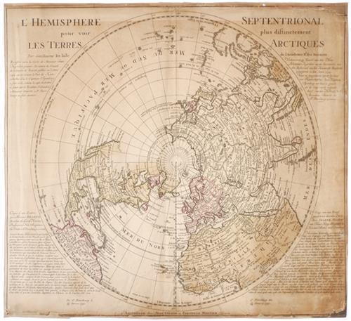 1740 L'' Hemisphere Septentrional pour voir plus distinctement les Terres Arctiques.