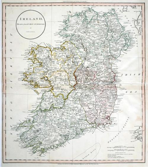 19th century Maps of Ireland and the Environs of Dublin and city plans of Dublin Cork and Belfast. (5)