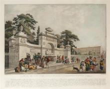 Circa 1790 Fountain on Merrion Square West, engraving.