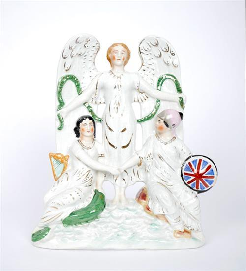 19th century Staffordshire figural group of Hibernia and Britannia.