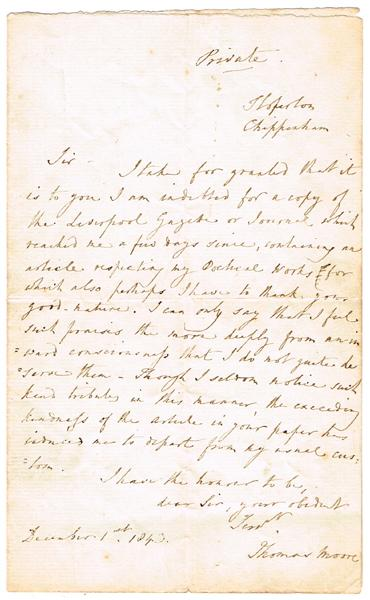 1843, December 1, letter from Thomas Moore and engraving.