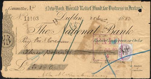 1880. New York Herald Relief Fund for Distress in Ireland cheque.