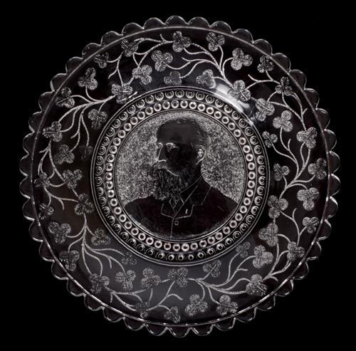 1880s Charles Stewart Parnell commemorative glass plate.