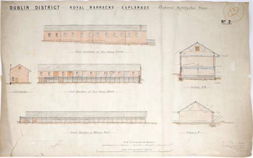 1892, Royal (Collins) Barracks Architectural drawings, Esplanade.