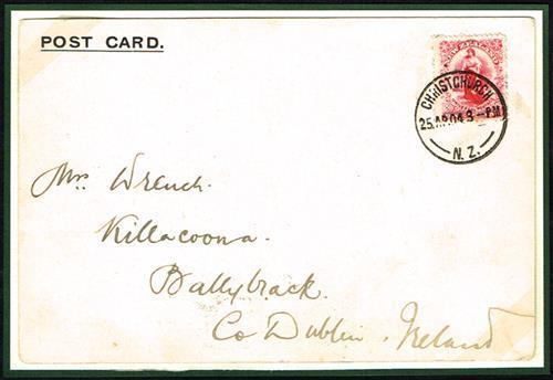 1904 (April) postcard from Captain Robert Falcon Scott, Antarctica to Ireland.