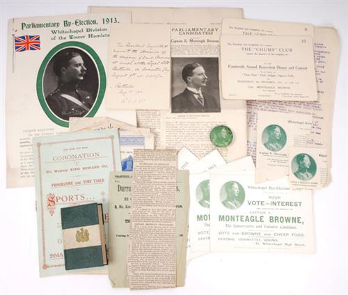 1911 General Election and 1913 Parliamentary By-Election, campaign material of Unionist candidate Capt. Monteagle-Browne.