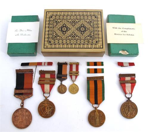 1917-1921 War of Independence medal with Cómhrac bar and miniature, 1921-1971 Truce Survivor''s medal and Emergency medal and miniature