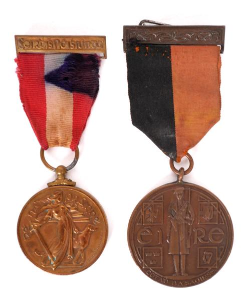 1917-1921 War of Independence Service Medal and a 1939-1946 Emergency National Service medal. (2)