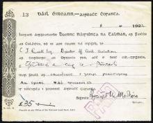 1922, June 8, General Richard Mulcahy, signed money order.