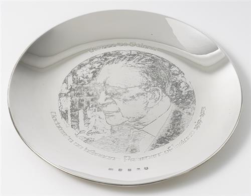 Eamon de Valera commemorative silver plate.