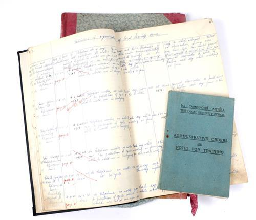 1939-1946 The Emergency, Local Security Force, Garda Siochanna ledgers and a manual.