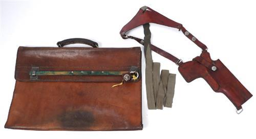 1940s lockable document case and post-war leather shoulder holster