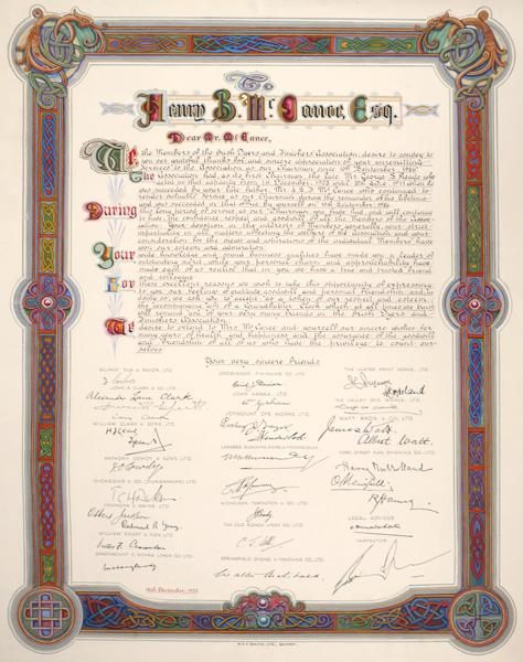 1950, December 15, Illuminated address to Henry B McCance from the Irish Dyers and Finishers Association.