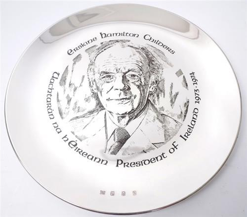 Erskine Childers commemorative silver plate.