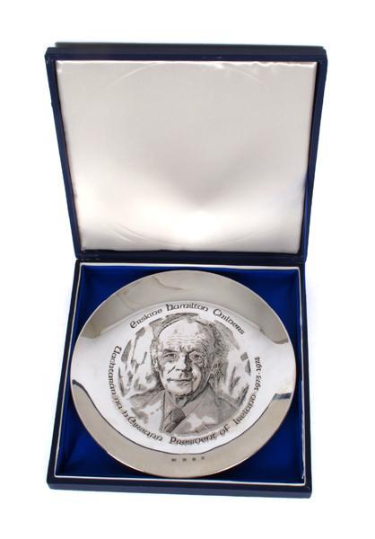 Erskine Childers silver commemorative plate