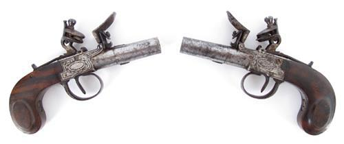 Circa 1815 Pair of English flintlock muff pistols