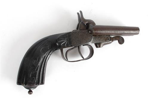 Circa 1870 double-barrel pin-fire pistol.